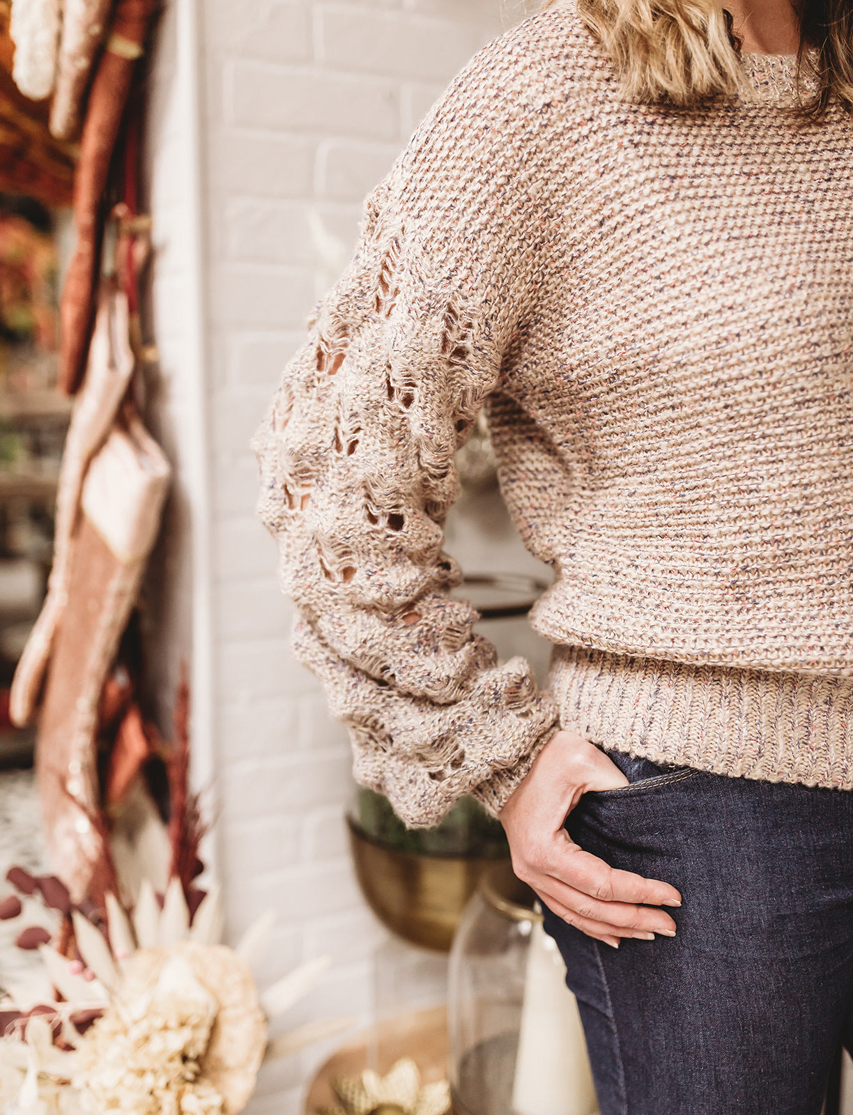 Taupe/Blue Stitch Bubble Sleeve Sweater