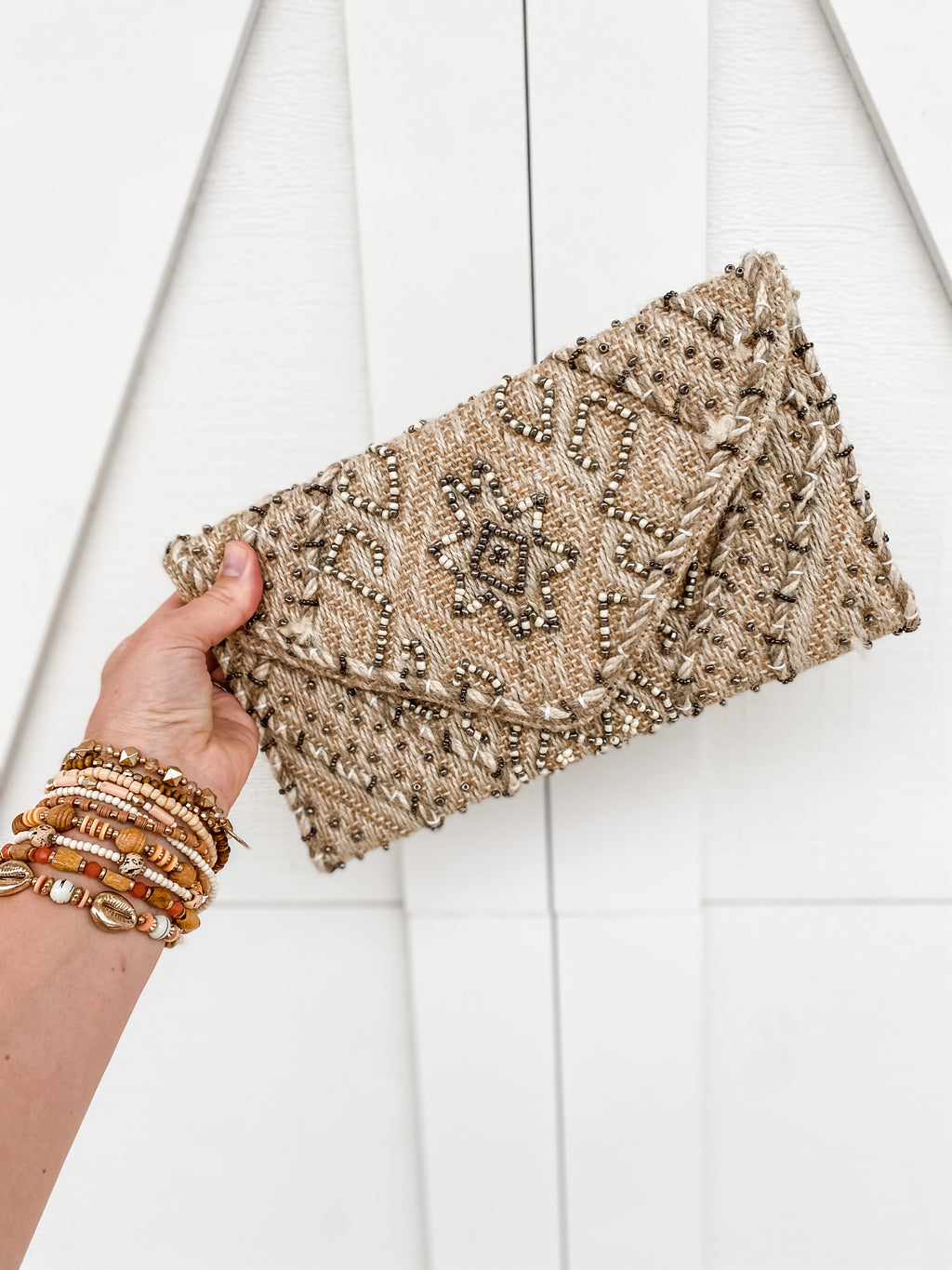 Beaded Jute Fold Over Clutch