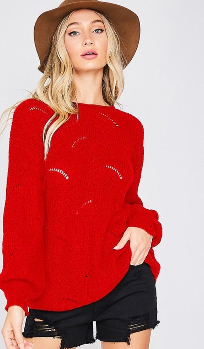 Holiday Red Banded Sweater