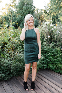 Olive Suede Halter Dress