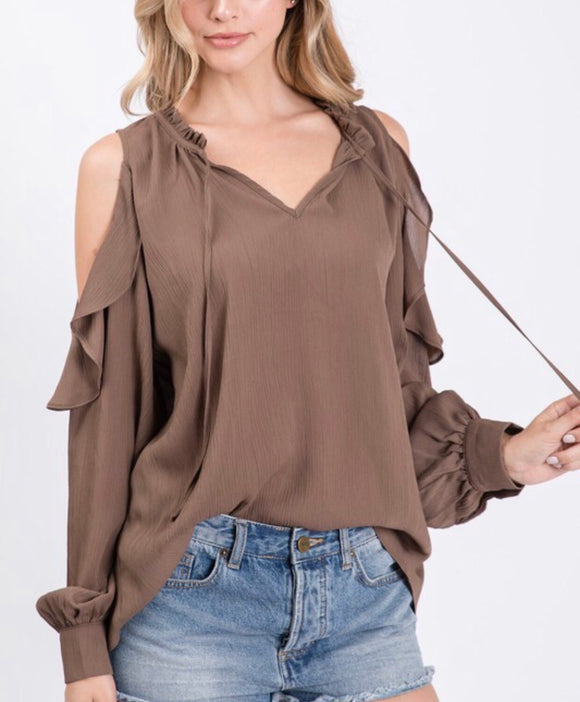 Mocha Cold Shoulder Ruffle Detail Top