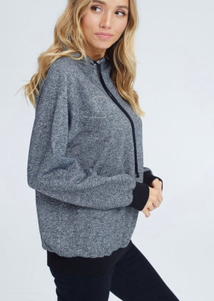 Charcoal Two Tone Gingham Detail Hoodie