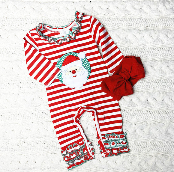 Santa Striped & Ruffle Onesie