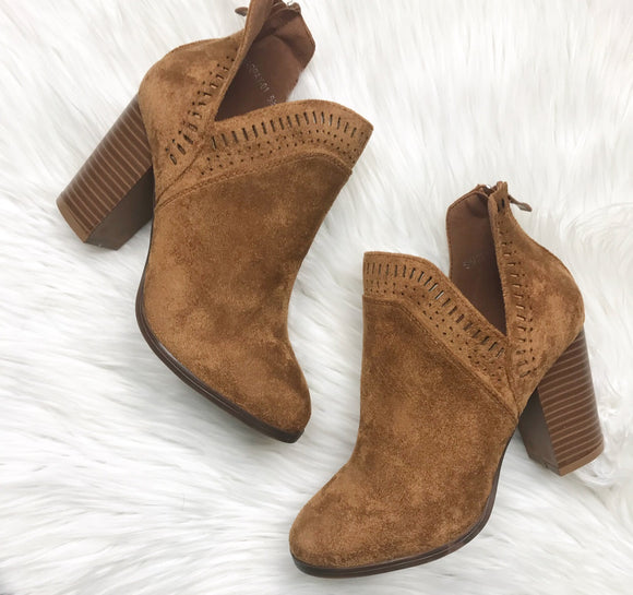 Camel Faux Suede Booties