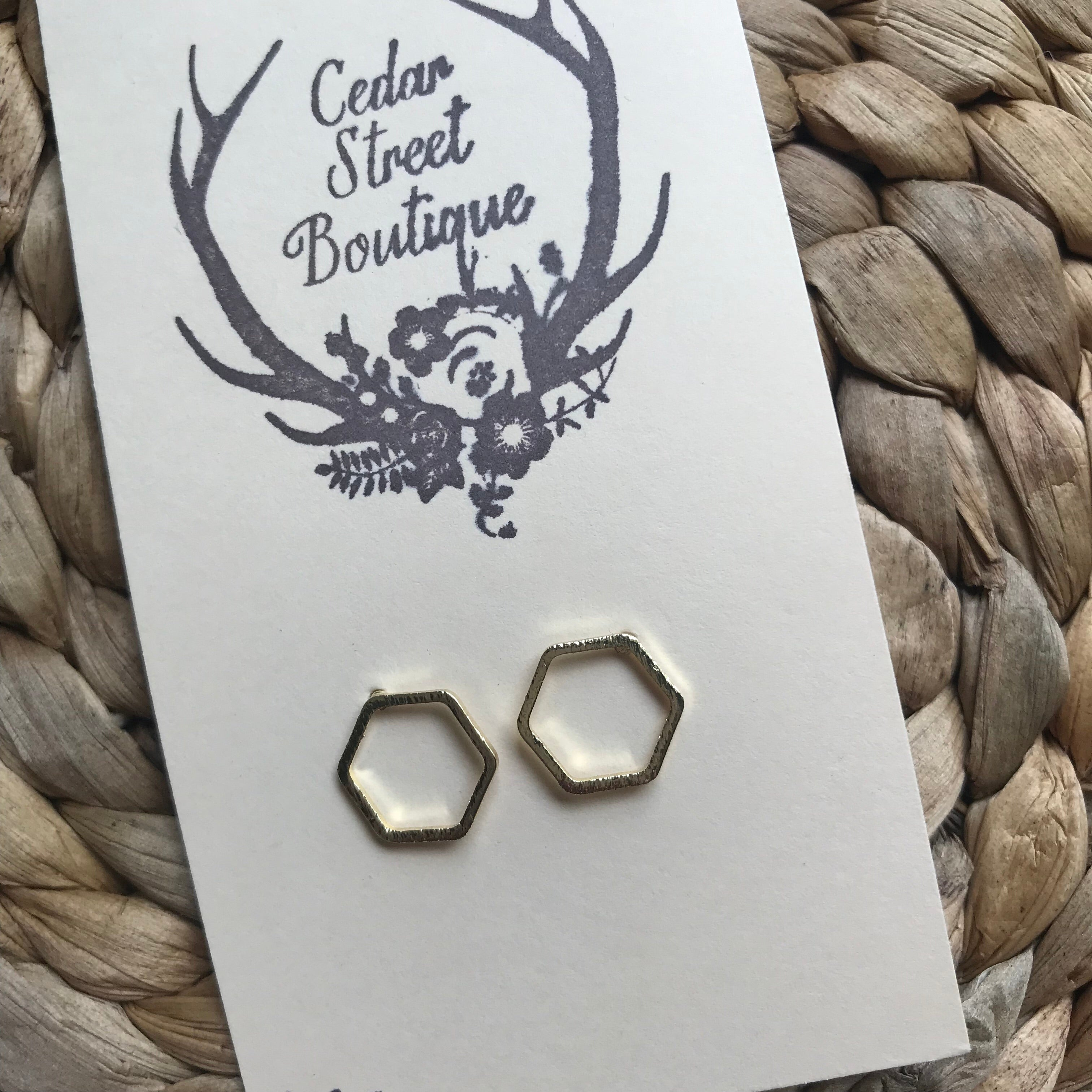Cedar Street Boutique Gold Hexagon Studs