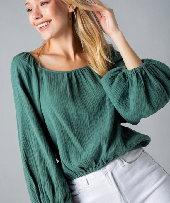 Dusty Sage Balloon Sleeve Top