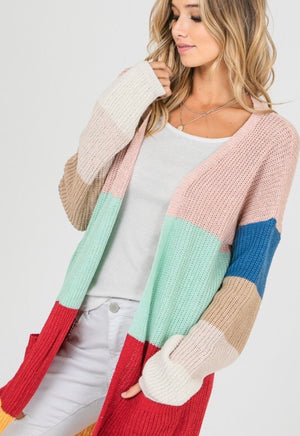 Multi Color Colorblock Cardigan