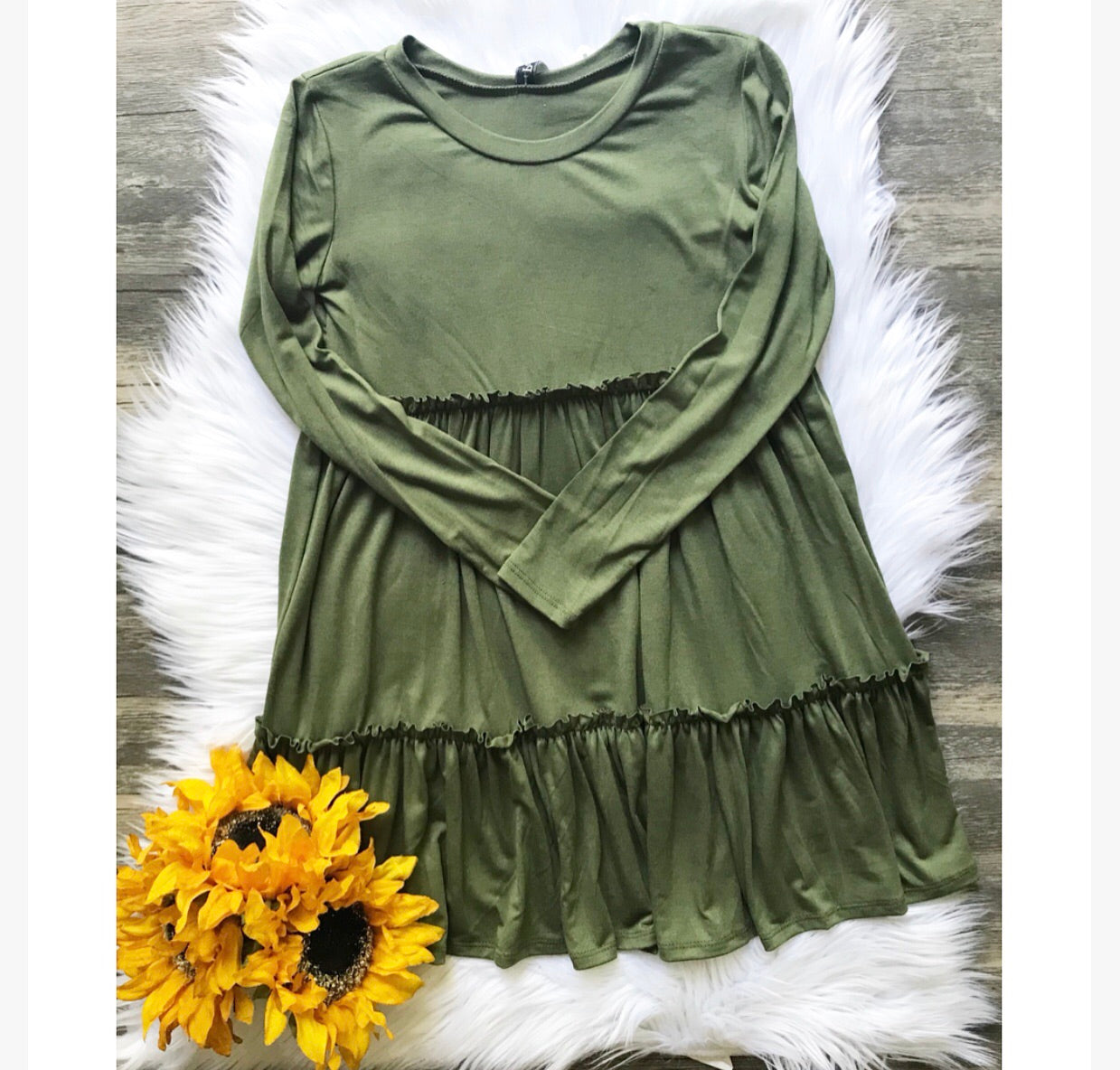 Olive Green Ruffle Tiered Dress