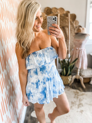 Blue Tie Dye Strapless Dress