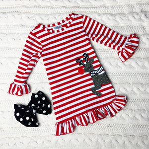 Red Ruffle & Striped Rudolph Dress