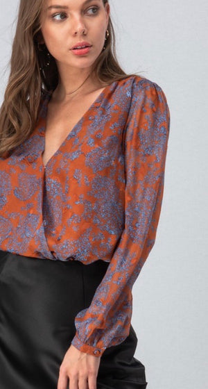 Rust Satin Floral Bodysuit