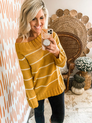 Mustard Striped Off the Shoulder Sweater