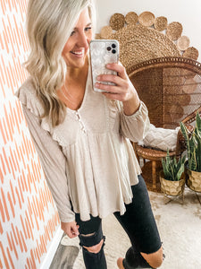 Taupe Ruffle Detail Top