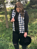 Extended Sizing Navy Plaid Vest