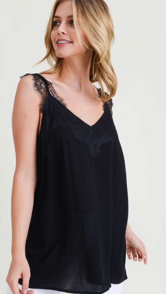 Black Lace Detailed Tank