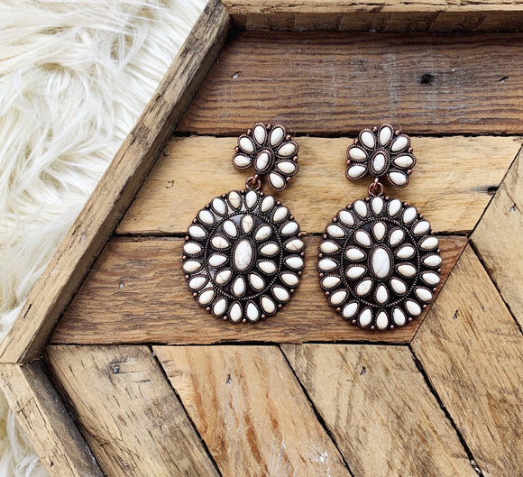 Boho Blossom White Earrings