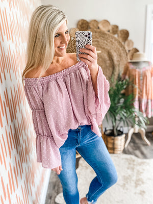 Mauve Swiss Dot Off the Shoulder Top