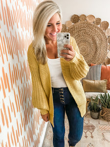 Mustard Balloon Sleeve Knit Cardigan