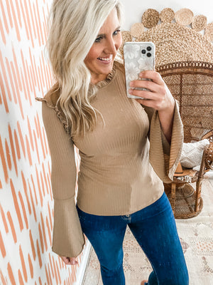 Mocha Bell Sleeve Ribbed Top