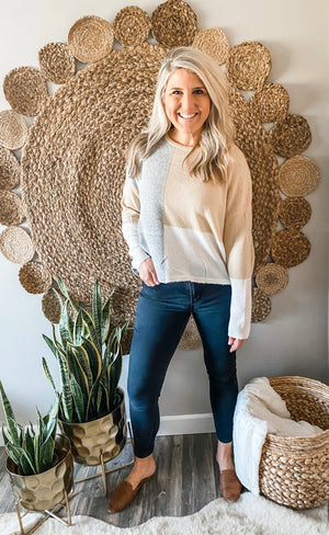 Grey/Taupe Colorblock Sweater