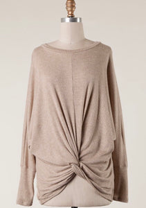Mocha Front Knot Ribbed Top