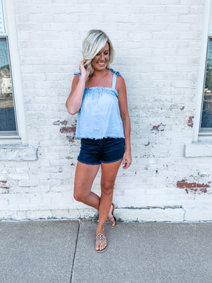 Denim Blue Knotted Tank