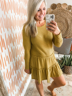 Mustard Tiered Thermal Waffleknit Dress