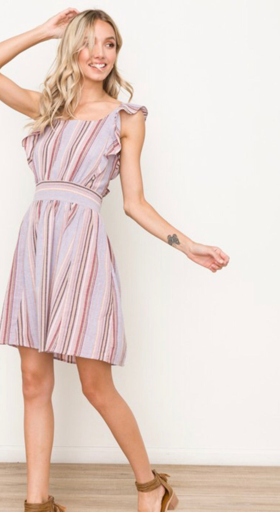 Multi Color Tie Back Ruffle Sleeve Dress