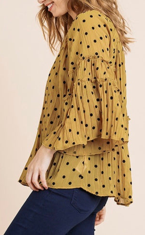 Golden Polka Dot Ruffle Detail Blouse