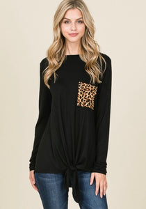Leopard Print Pocket Front Knot Top
