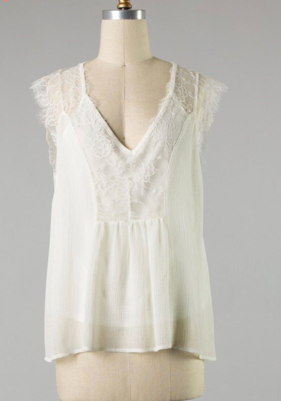 Ivory Lace Detail Top