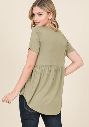 Light Olive Peplum Top