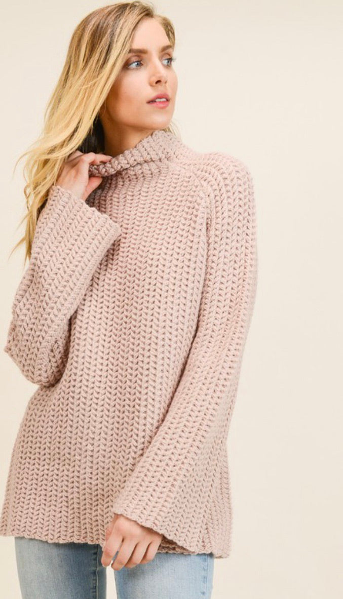 Mauve High Neck Chunky Knit Sweater
