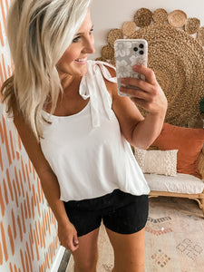 White Tie Detail Top