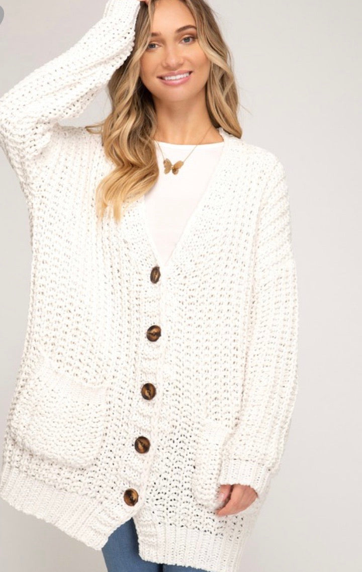 Oversized Ivory Button Down Cardigan