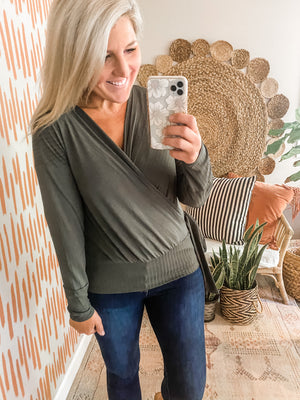 Olive Ribbed Side Tie Top