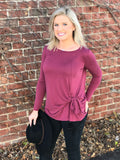 Burgundy Side Knot Top