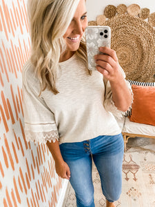 Cream Lace Sleeve Detail Top
