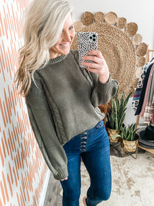 Olive Cableknit Detail Sweater
