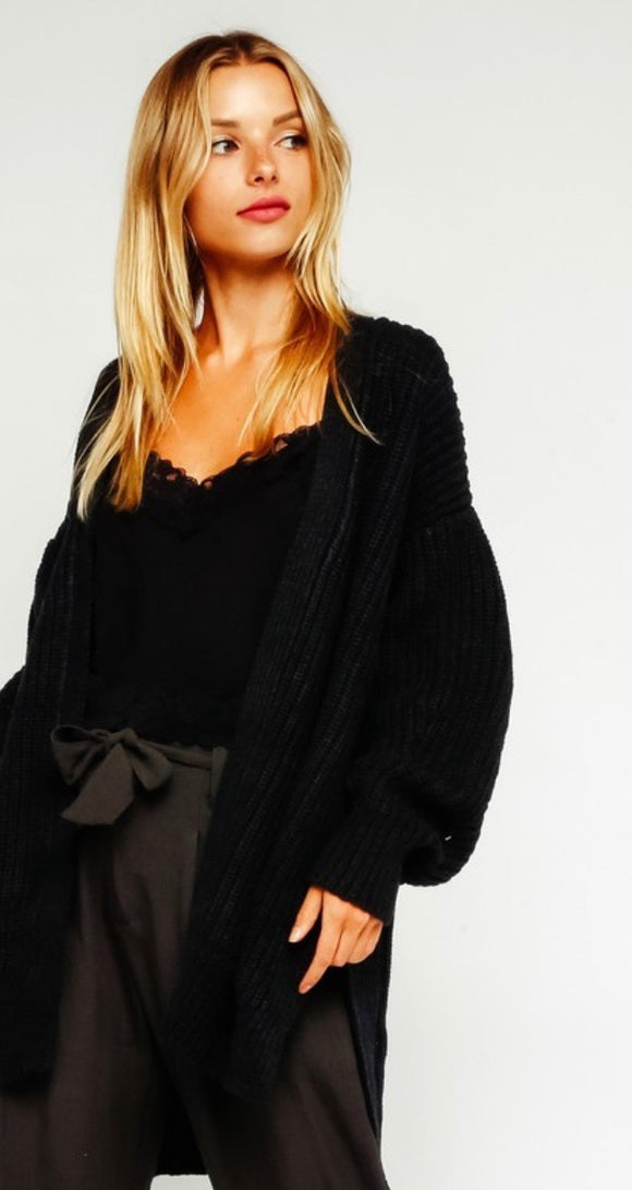 Black Chunky Knit Pocket Cardigan