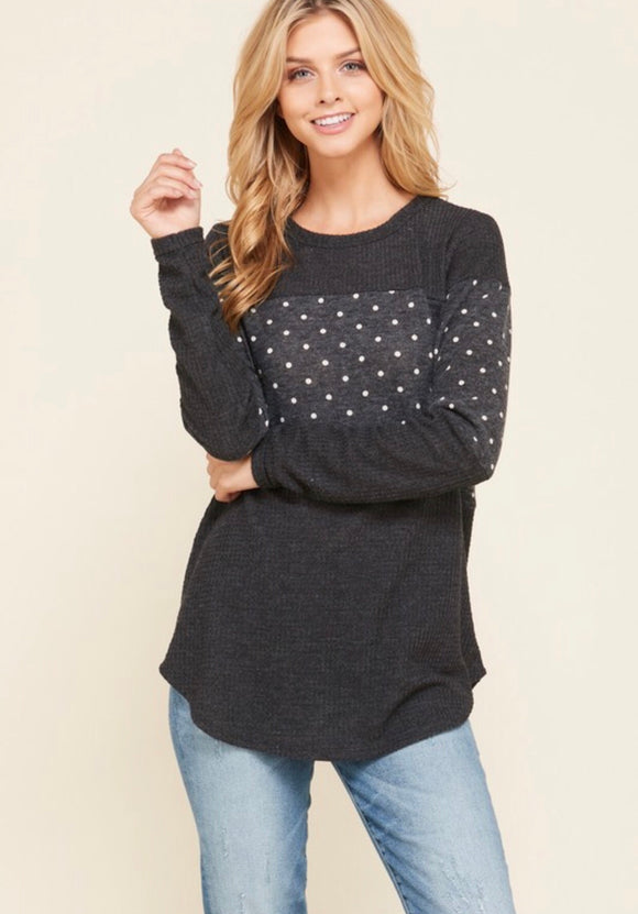 Charcoal Polka Dot Contrast Top