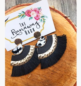 Black Tribal Tassel Earrings
