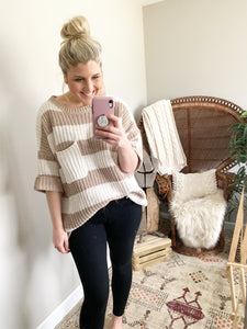 Taupe Striped Oversized Sweater