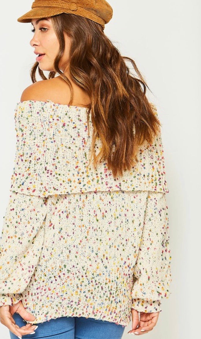 Confetti Knit Off the Shoulder Sweater