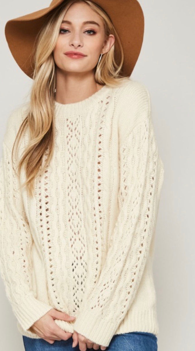 Cream Eyelet Cableknit Sweater