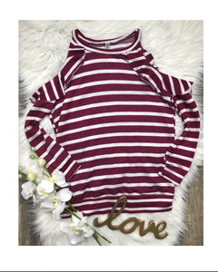 Burgundy Striped Cold Shoulder Ruffle