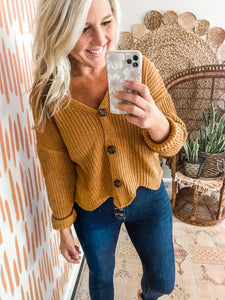Camel Button Detail Cropped Sweater