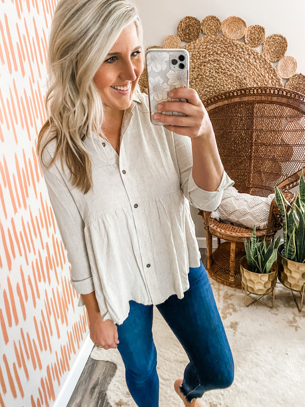Oatmeal Button Down Top