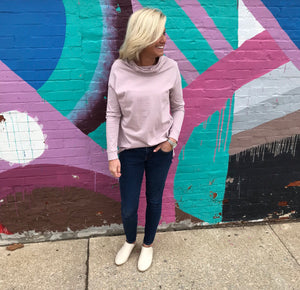 Rose Pink Cowl Neck Top