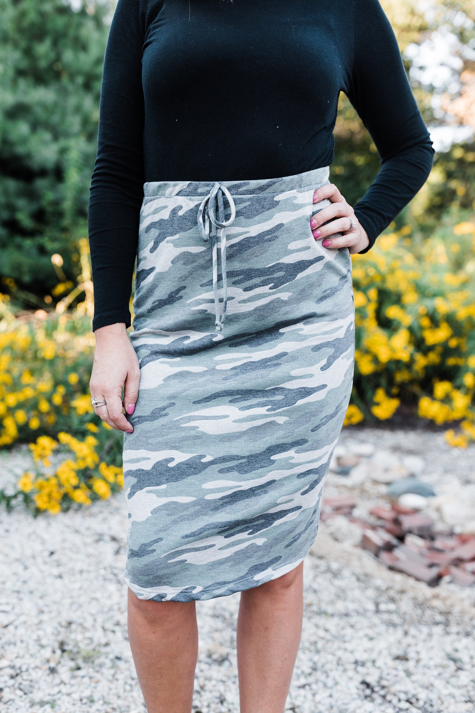 Camo Fitted Drawstring Skirt
